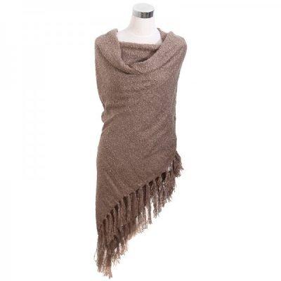 Omslagdoek Yolante bruin bruine omslagdoek sjaal ponchos vesten winter warm vesten sjaals online kopen bestellen