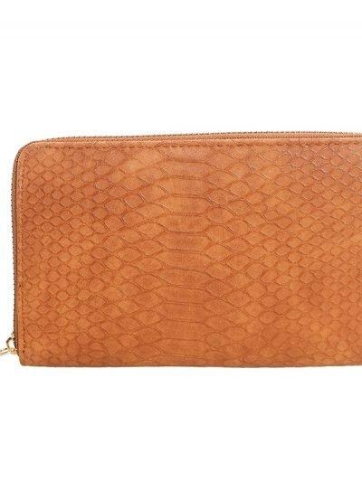 Portemonnee Croco bruin bruine cognac dames pasjes portemonee slangenprint online bestellen kopen musthave accessoires