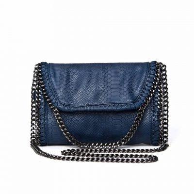 Schouder tas Croco Chains blauwe blauw dames tassen slangen print kettingen zilver musthave fashion goedkoop