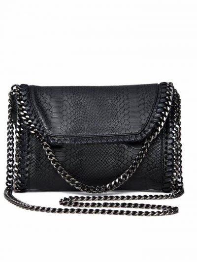 Schouder tas Croco Chains zwart zwarte dames tassen slangen print kettingen zilver musthave fashion goedkoop