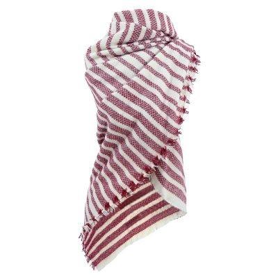 Sjaal Siberia rood rode red gestreepte sjaals omslagdoeken winter mooie hippe sjaals online kopen bestellen