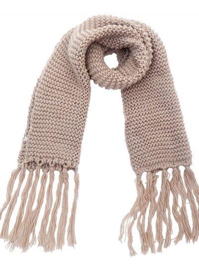 Sjaal Winter Bruin bruine warme gebreide lange sjaal met fringe franjes online bestellen sjaals omslagdoeken