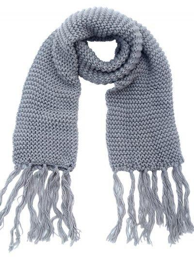 Sjaal Winter grijs grijze warme gebreide lange sjaal met fringe franjes online bestellen sjaals omslagdoeken