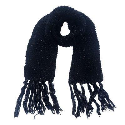 Sjaal Winter zwart zwarte warme gebreide lange sjaal met fringe franjes online bestellen sjaals omslagdoeken