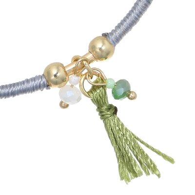 Armband Green Tassle open gekleurde dames ambanden met groen kwastje en kralen yehwang kopen kado
