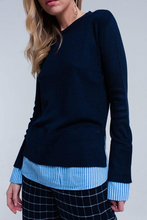 Blauwe Sweater Hemd donker blauwe dames truien met gestreept hemd detail onder trui sweater winter kleding werk online fashion bestellen