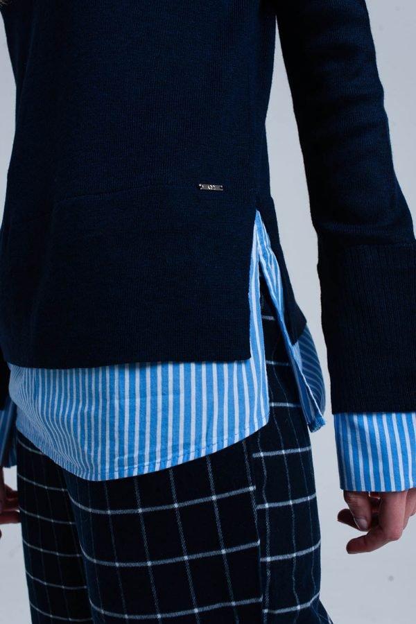 Blauwe Sweater Hemd donker blauwe dames truien met gestreept hemd detail onder trui sweater winter kleding werk online fashion bestellen detail