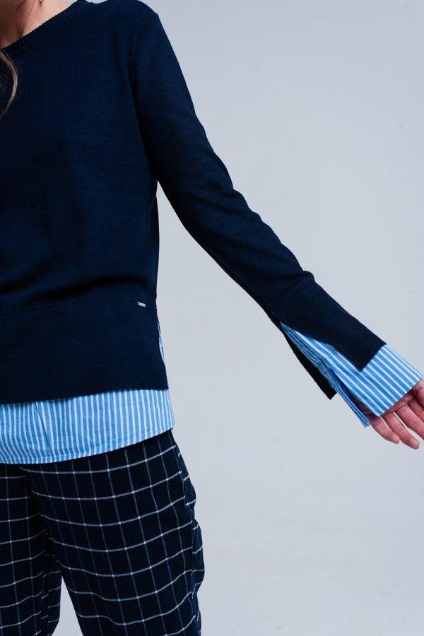Blauwe Sweater Hemd donker blauwe dames truien met gestreept hemd detail onder trui sweater winter kleding werk online fashion bestellen details