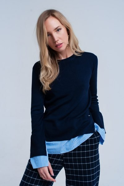 Blauwe Sweater Hemd donker blauwe dames truien met gestreept hemd detail onder trui sweater winter kleding werk online fashion kopen online