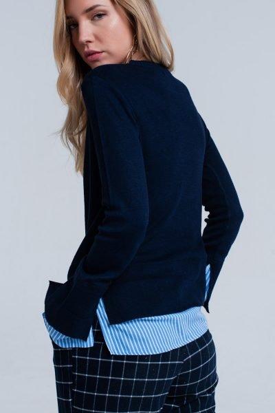 Blauwe Sweater Hemd donker blauwe dames truien met gestreept hemd detail onder trui sweater winter kledingshop werk online fashion kopen