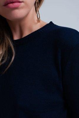 Blauwe Sweater Hemd donker blauwe dames truien met gestreept hemd detail onder trui sweaters winter kleding werk online fashion bestellen