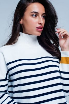 Col Trui Navy Strepen witte wit creme dames col truien met blauwe en gele strepen en gouden knopen winter sweaters truien dames online bestellen detail