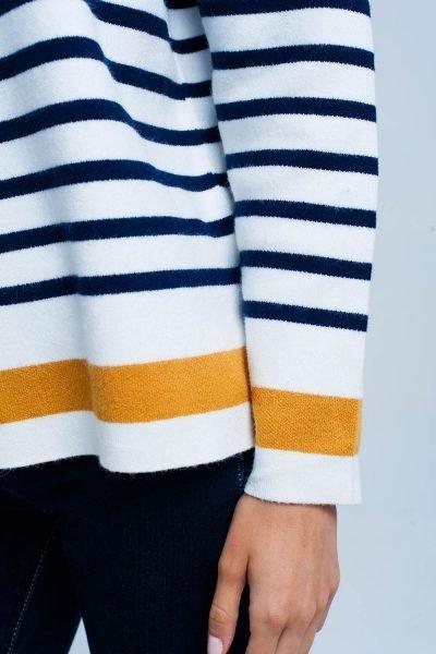 Col Trui Navy Strepen witte wit creme dames col truien met blauwe en gele strepen en gouden knopen winter sweaters truien dames online bestellen details