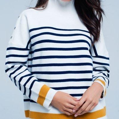 Col Trui Navy Strepen witte wit creme dames col truien met blauwe en gele strepen en gouden knopen winter sweaters truien dames online kopen
