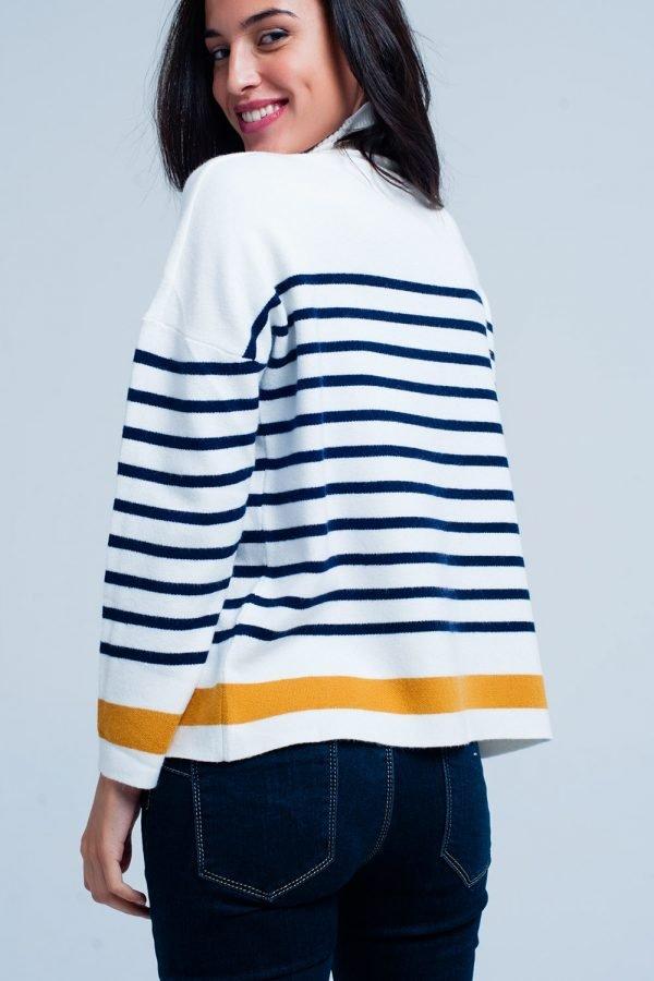 Col Trui Navy Strepen witte wit creme dames col truien met blauwe en gele strepen en gouden knopen winter sweaters truien dames online kopen achter