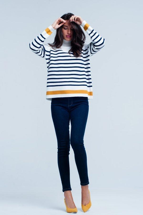 Col Trui Navy Strepen witte wit creme dames col truien met blauwe en gele strepen en gouden knopen winter sweaters truien dames online kopen bestellen