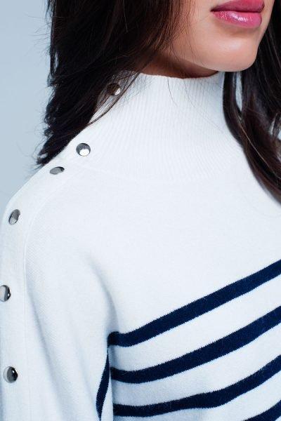 Col Trui Navy Strepen witte wit creme dames col truien met blauwe en gele strepen en gouden knopen winter sweaters truien dames online kopen detail