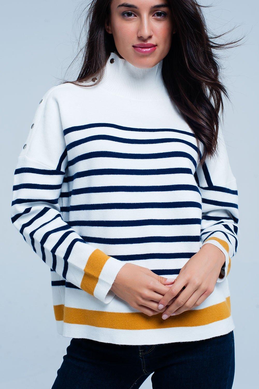 Zwarte Trui Met Leer.Col Trui Navy Strepen Meerdere Soorten Trendy Dames Sweaters Truien