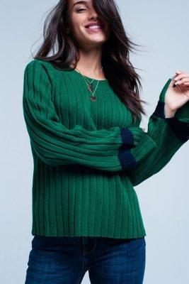 Groene Trui Kabel groen dames truien kabel gebreid met wijde mouwen streep fashion sweaters online kopen bestellen