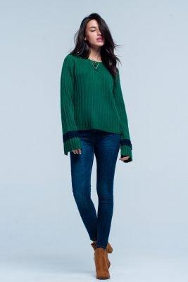 Groene Trui Kabels groen dames truien kabel gebreid met wijde mouwen en streep fashion sweaters online kopen 'truien