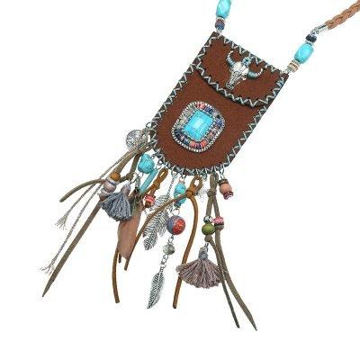 Ketting Boho Bag bruin bruine turquoise blauwe stenen bohemian ibiza stijl pouch tasje ketting musthave boho fashion online kopen