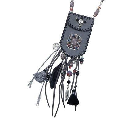 Ketting Boho Bag grijs grijze bohemian ibiza stijl bull en kwastjes pouch tasje ketting musthave boho fashion online bestellen