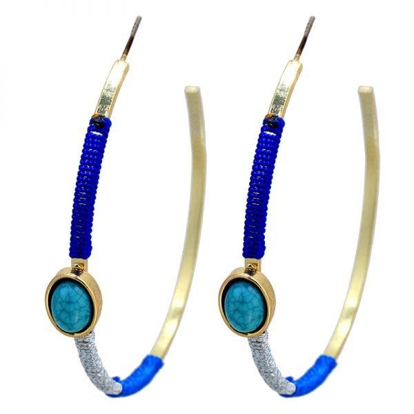 Oorbel-Turquoise-Stone-Creoles-oorbellen-met-Turquoise-blauwe steen-en-blauwe zilver draad-musthave-oorbellen-oorhangers-online-kopen-gouden creolen oorbellen kopen