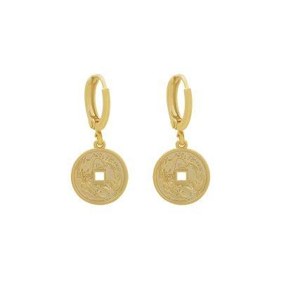 Oorbellen Mythological-Coin-goud gouden-gold-plated-dames-Oorbel met munt-bedel oorhangers dames sieraden-online-bestellen-fashion