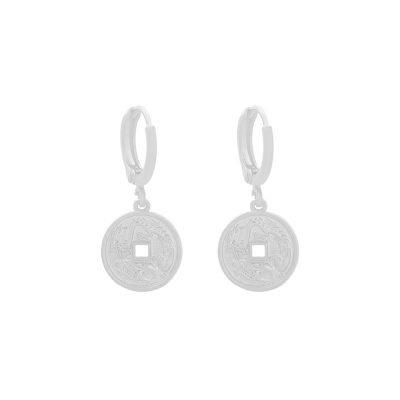 Oorbellen Mythological-Coin-zilver-zilveren-gold-plated-dames-Oorbel met munt-bedel oorhangers dames sieraden-online-bestellen-fashion