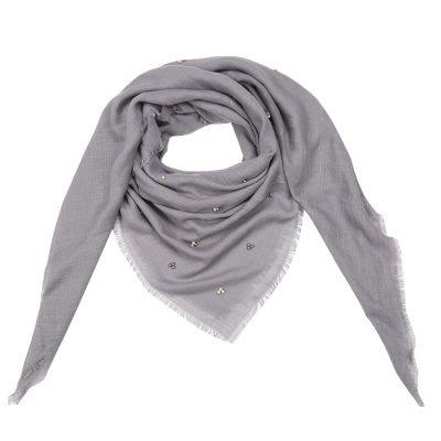 Sjaal Tiny Beads grijs grijze dames sjaals kralen parels details musthave fashion omslagdoeken shawls kopen bestellen