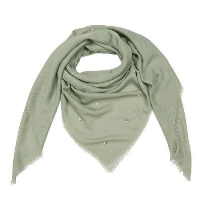 Sjaal Tiny Beads groen groene dames sjaals kralen parels details musthave fashion omslagdoeken shawls kopen bestellen