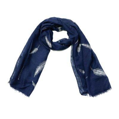 Sjaal Veren blauw blauwe polyester dames sjaals met witte veren print boho sjaals fashion shawls kopen online