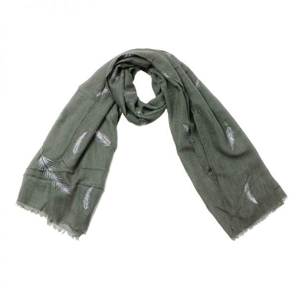 Sjaal Veren grijs grijze polyester dames sjaals met witte veren print boho sjaals fashion shawls kopen online