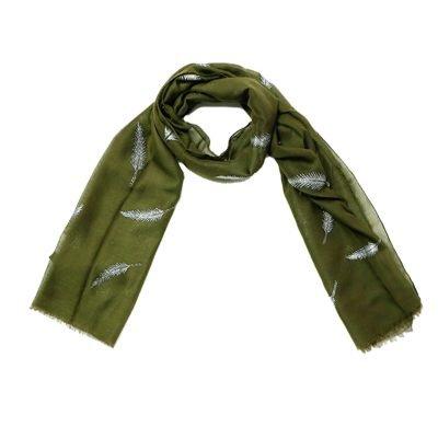 Sjaal Veren groen groene polyester dames sjaals met witte veren print boho sjaals fashion shawls kopen online