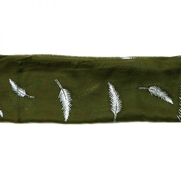 Sjaal Veren groen groene polyester dames sjaals met witte veren print boho sjaals fashion shawls kopen online bestellen
