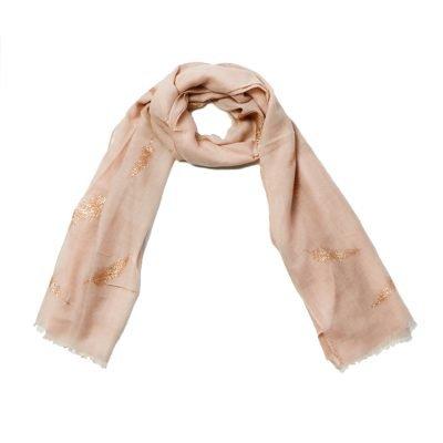 Sjaal Veren roze roze polyester dames sjaals met gouden veren print boho sjaals fashion shawls kopen online