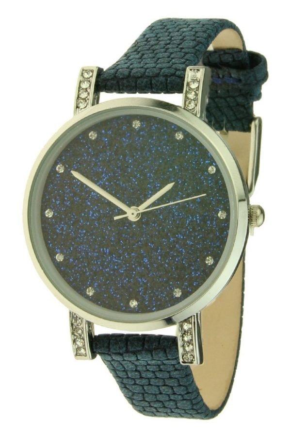 horloge-glitter-livia-donker-blauw-blauwe-leren-leder-horloge-zilveren-kast-steentjes-stras-musthave-klok