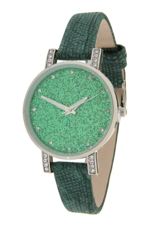 horloge-glitter-livia--groen-groene-leren-leder-horloge-zilveren-kast-steentjes-stras-musthave-klok
