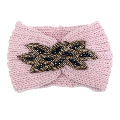 Haarband-Winter Sparkle roze pink wollen-dames-haarbanden-bloem musthave-fashion dames haar-accessoires-online-kopen