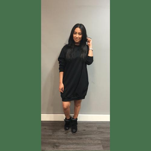 Mooie Kleding Kopen.Jurk Sweater Dress Zwart Zwarte Black Mooie Groote Ruime Trui Met