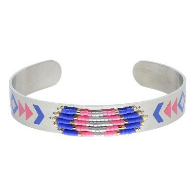 RVS Armband Colorful beads zilver zilveren open armband blauw roze kraaltjes en print aztec boho