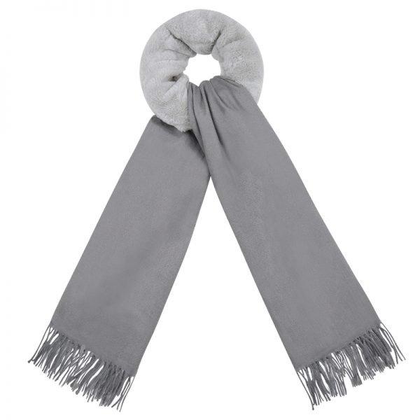 Sjaal Soft Bont grijs grijze zachte warme dames sjaal wollen deel kopen bestellen