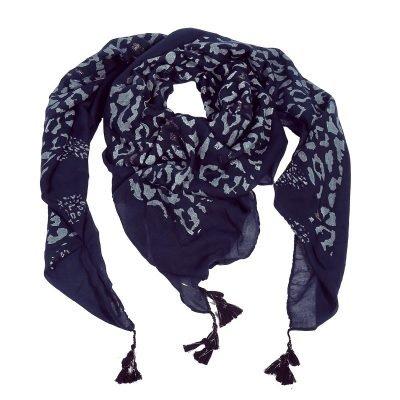 Sjaal Two Prints blauw blauwe dames sjaals leopard print kwastjes driehoeks vierkante dames omslagdoeken online