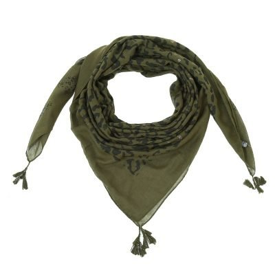 Sjaal Two Prints groen groene dames sjaals leopard print kwastjes driehoeks vierkante dames omslagdoeken online
