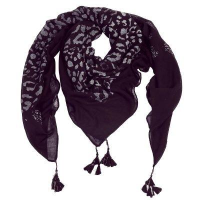 Sjaal Two Prints zwart zwarte dames sjaals leopard print kwastjes driehoeks vierkante dames omslagdoeken online