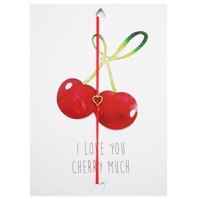 Wenskaart en Armband I love you cherry much valentijns kaarten teskst en armband met hartje unieke cadeau