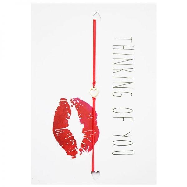 Wenskaart en Armband Thinking of you valentijns kaarten teskst en armband met hartje unieke cadeau