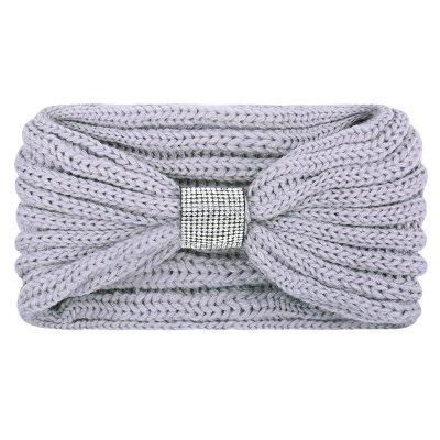 Winter Haarband Bling grijs grijze gebreide wollen dames haarbanden strass stenen de