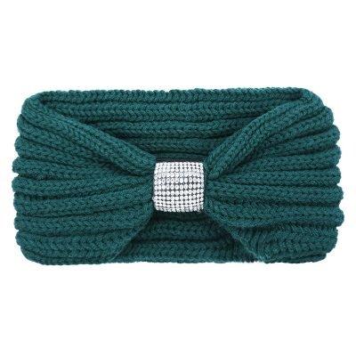 Winter Haarband Bling groen groene gebreide wollen dames haarbanden strass stenen de