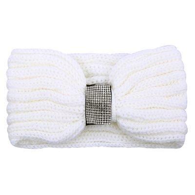 Winter Haarband Bling wit witte gebreide wollen dames haarbanden strass stenen de